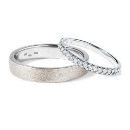 Snubní prsteny z bílého zlata a diamanty 5,5 g, pár, Klenota