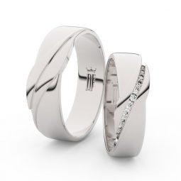 Snubní prsteny z bílého zlata s brilianty - pár, Danfil DF 3039