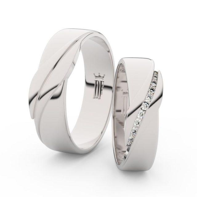 Snubní prsteny z bílého zlata s brilianty – pár, Danfil DF 3039