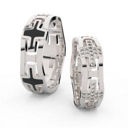 Snubní prsteny z bílého zlata s diamanty - pár, Danfil DF 3042
