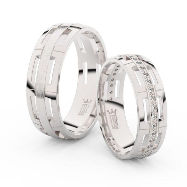 Snubní prsteny z bílého zlata s brilianty – pár, Danfil DF 3048
