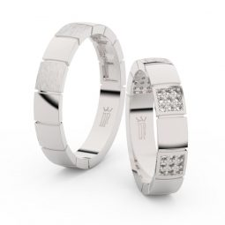 Snubní prsteny z bílého zlata s brilianty, pár - Danfil DF 3057