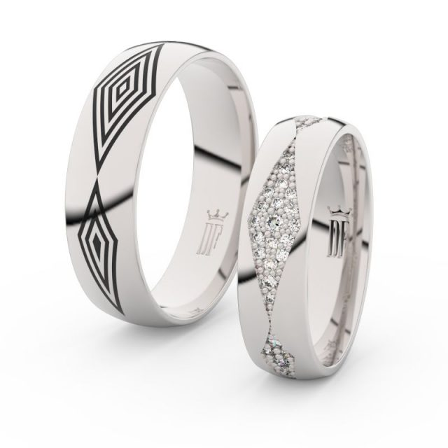 Snubní prsteny z bílého zlata s brilianty – pár, Danfil DF 3074