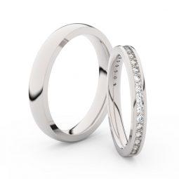 Snubní prsteny z bílého zlata s diamanty, pár, Danfil DF 3893