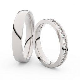 Snubní prsteny z bílého zlata s diamanty, pár, Danfil DF 3894
