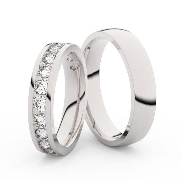 Snubní prsteny z bílého zlata s diamanty, pár, Danfil DF 3895