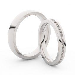 Snubní prsteny z bílého zlata s diamanty, pár, Danfil DF 3896