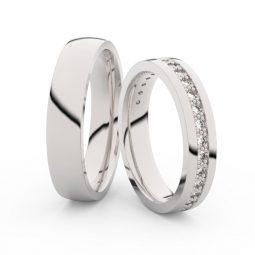 Snubní prsteny z bílého zlata s diamanty, pár, Danfil DF 3898