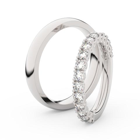 Snubní prsteny z bílého zlata s diamanty, pár, Danfil DF 3899
