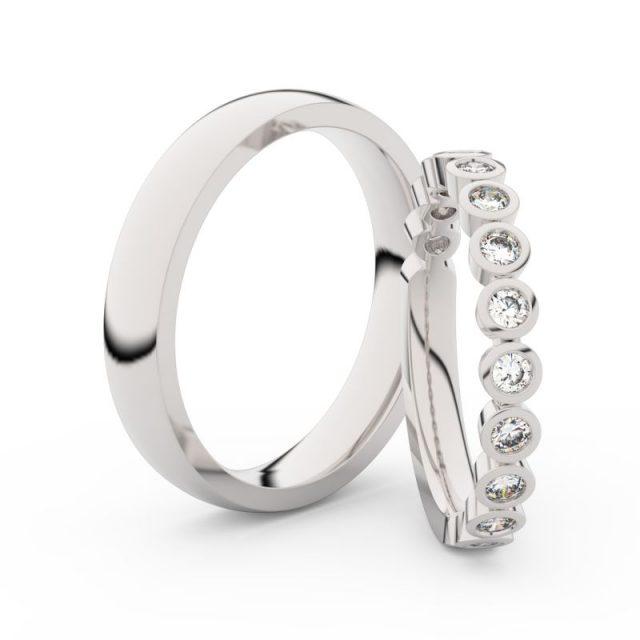 Snubní prsteny z bílého zlata s brilianty, pár, Danfil DF 3900