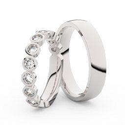 Snubní prsteny z bílého zlata s diamanty, pár, Danfil DF 3901