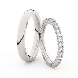 Snubní prsteny z bílého zlata s diamanty, pár, Danfil DF 3902