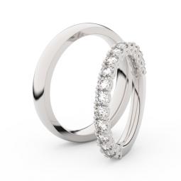 Snubní prsteny z bílého zlata s diamanty, pár, Danfil DF 3903