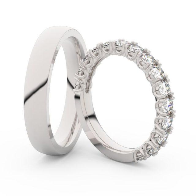 Snubní prsteny z bílého zlata s brilianty, pár, Danfil DF 3904