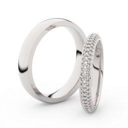 Snubní prsteny z bílého zlata s diamanty, pár, Danfil DF 3911