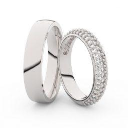 Snubní prsteny z bílého zlata s diamanty, pár, Danfil DF 3912