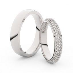 Snubní prsteny z bílého zlata s brilianty, pár - Danfil DF 3918