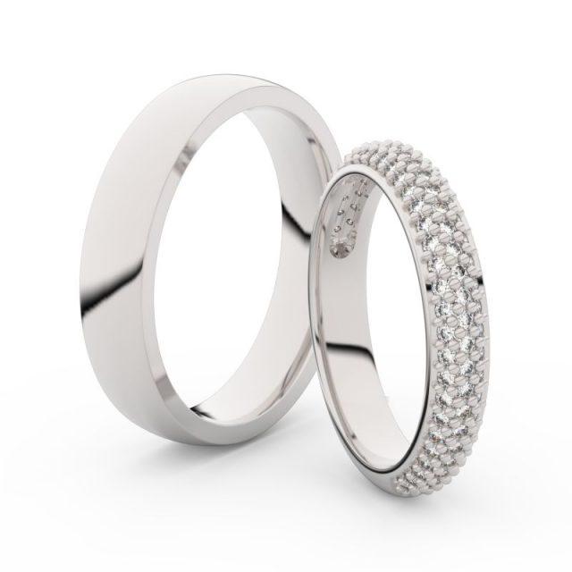 Snubní prsteny z bílého zlata s brilianty, pár – Danfil DF 3918