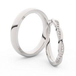 Snubní prsteny z bílého zlata s brilianty, pár - Danfil DF 3951
