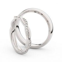 Snubní prsteny z bílého zlata s brilianty, pár - Danfil DF 3952