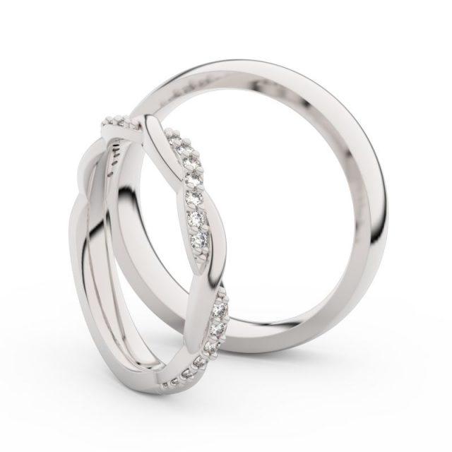 Snubní prsteny z bílého zlata s brilianty, pár – Danfil DF 3952