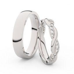 Snubní prsteny z bílého zlata s brilianty, pár - Danfil DF 3953