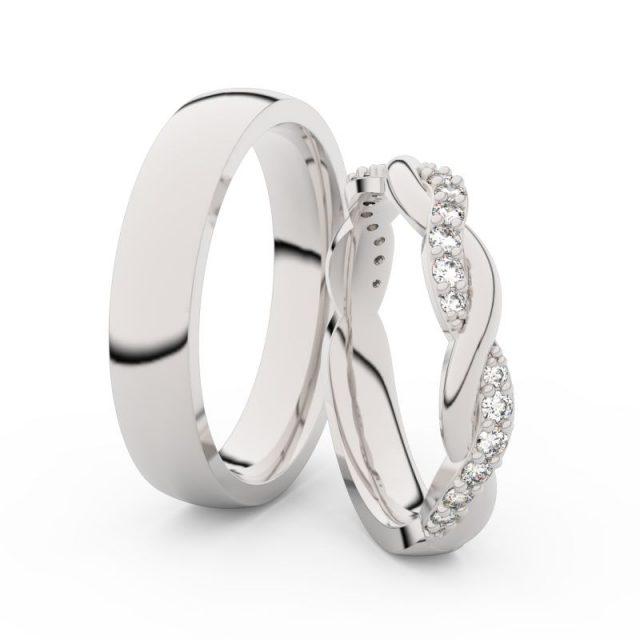 Snubní prsteny z bílého zlata s brilianty, pár – Danfil DF 3953