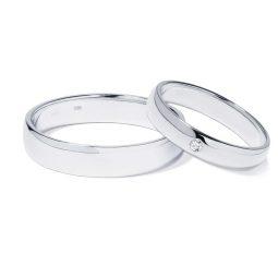 Snubní prsteny z bílého zlata s diamantem 8,5 g, pár, Klenota