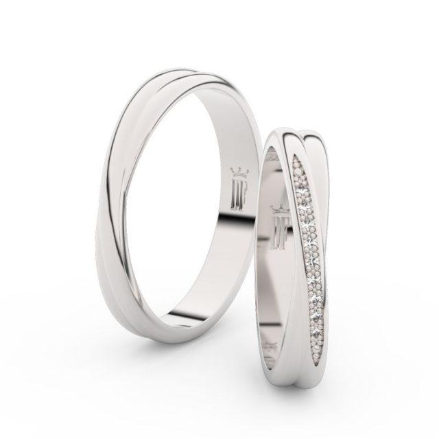 Snubní prsteny z bílého zlata se zirkony – pár, Danfil DF 3019