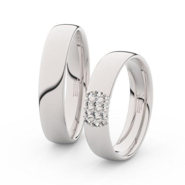 Snubní prsteny z bílého zlata se zirkony – pár, Danfil DF 3021