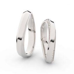 Snubní prsteny z bílého zlata se zirkony - pár, Danfil DF 3023