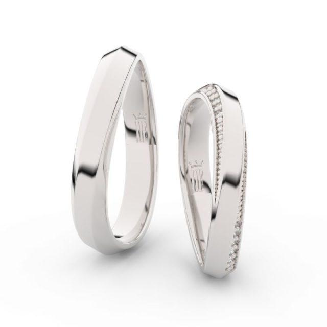 Snubní prsteny z bílého zlata se zirkony – pár, Danfil DF 3023