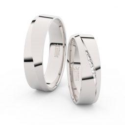 Snubní prsteny z bílého zlata se zirkony, pár - Danfil DF 3034