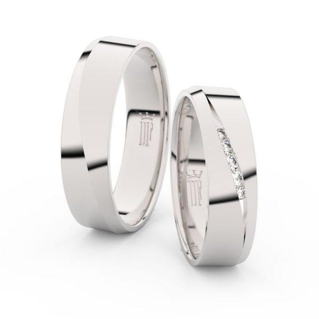 Snubní prsteny z bílého zlata se zirkony, pár – Danfil DF 3034