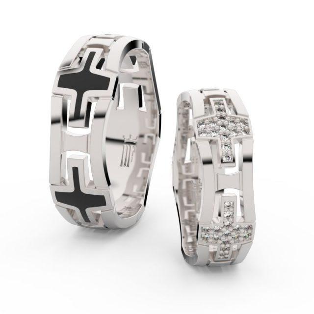 Snubní prsteny z bílého zlata se zirkony – pár, Danfil DF 3042