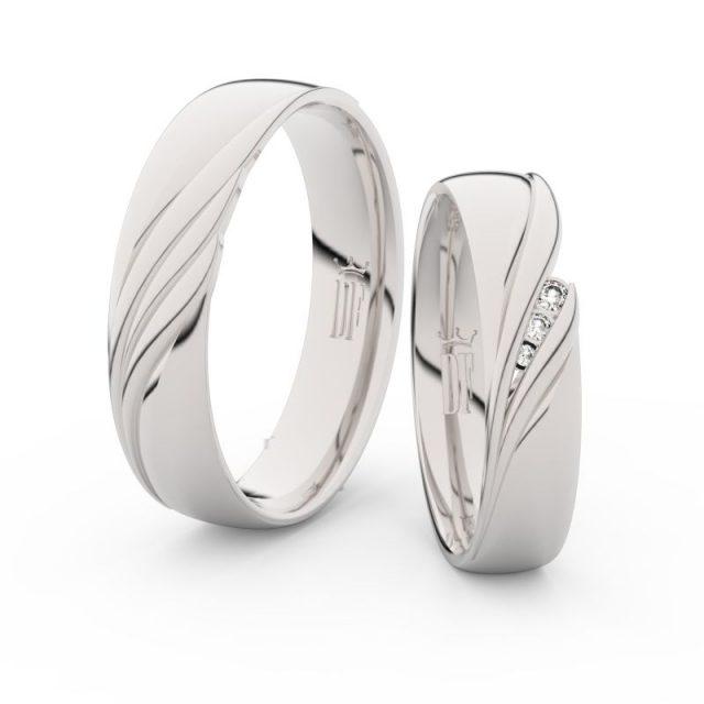 Snubní prsteny z bílého zlata se zirkony – pár, Danfil DF 3044