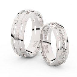 Snubní prsteny z bílého zlata se zirkony - pár, Danfil DF 3048