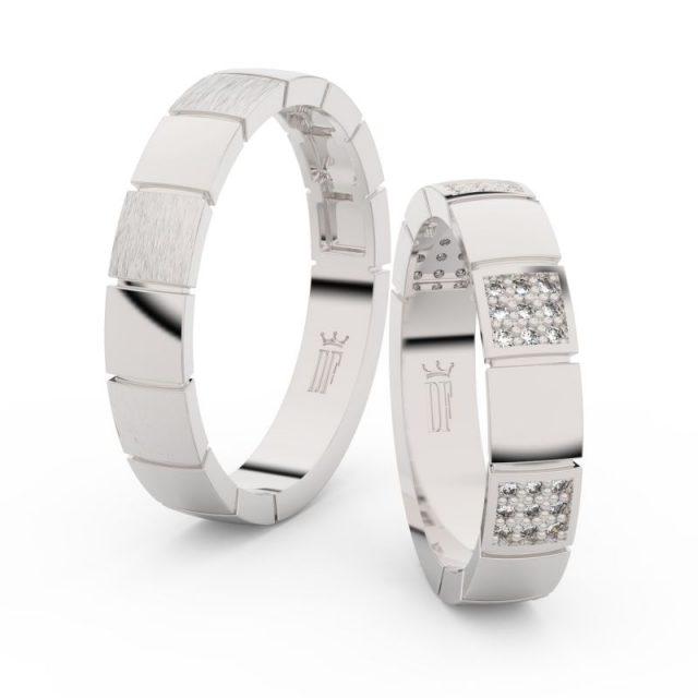 Snubní prsteny z bílého zlata se zirkony – pár, Danfil DF 3057