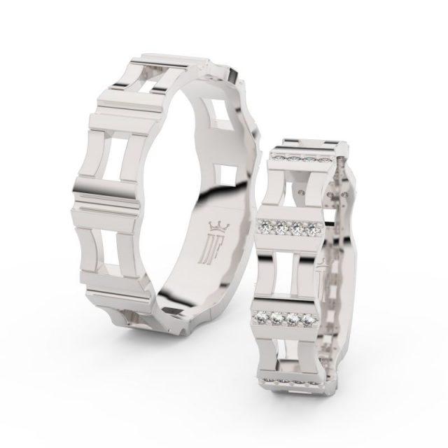 Snubní prsteny z bílého zlata se zirkony – pár, Danfil DF 3084