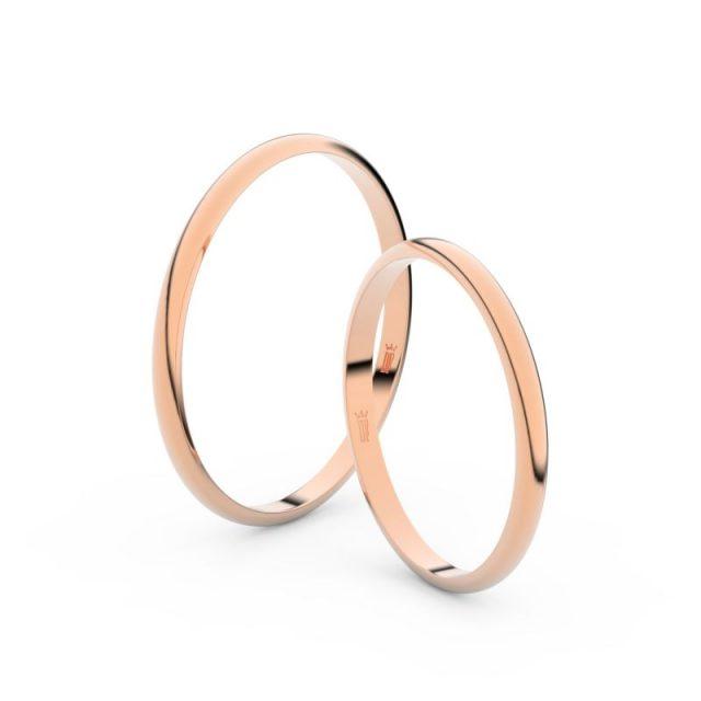 Snubní prsteny z růžového zlata, 1.7 mm, pár – Danfil DF 4I17