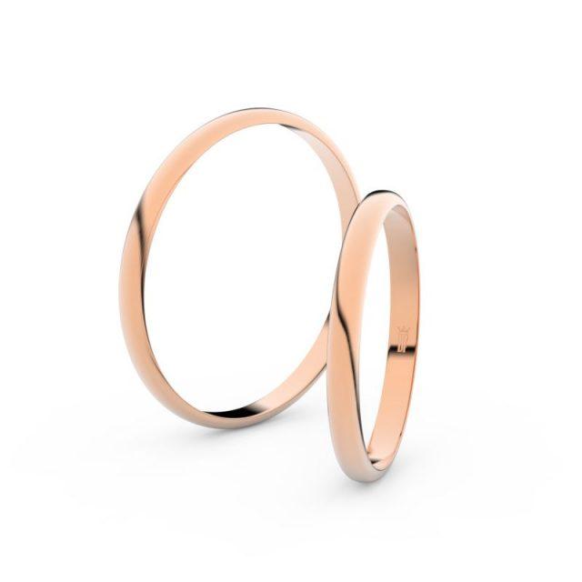 Snubní prsteny z růžového zlata, 2 mm, pár – Danfil DF 4H20
