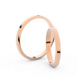 Snubní prsteny z růžového zlata, 2.3 mm, pár - Danfil DF 4A25
