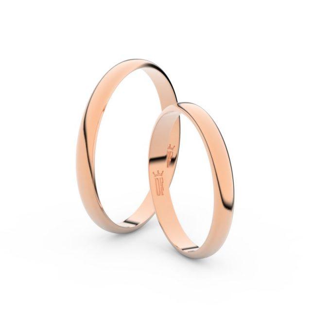 Snubní prsteny z růžového zlata, 2.5 mm, pár – Danfil DF 4G25