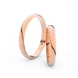 Snubní prsteny z růžového zlata, 2.9 mm, pár - Danfil DF 4F30