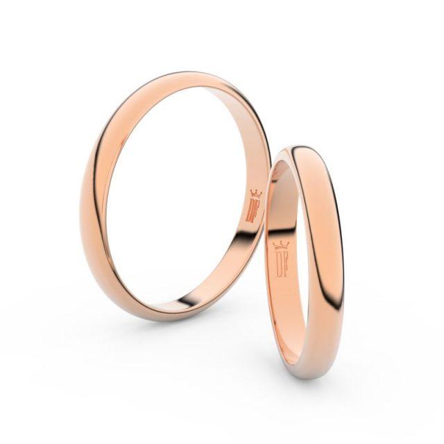 Snubní prsteny z růžového zlata, 3 mm, pár – Danfil DF 2A30