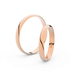 Snubní prsteny z růžového zlata, 3 mm, pár - Danfil DF 4D30