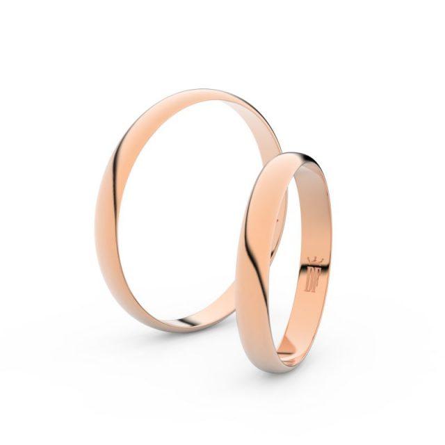 Snubní prsteny z růžového zlata, 3 mm, pár – Danfil DF 4D30