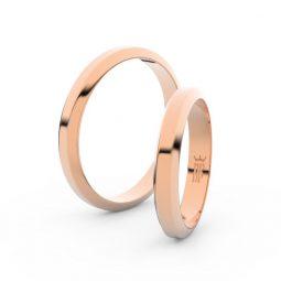 Snubní prsteny z růžového zlata, 3.15 mm, pár - Danfil DF 6B32
