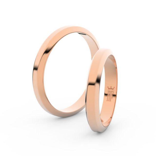 Snubní prsteny z růžového zlata, 3.15 mm, pár – Danfil DF 6B32
