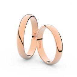 Snubní prsteny z růžového zlata, 3.5 mm, pár - Danfil DF 2B35